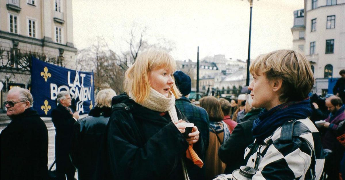 Eva Zillén på ett av mötena på Norrmalmstorg i Stockholm 1993.