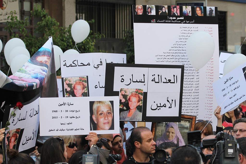 KAFA anordnade en demonstration där de krävde en lag om våld i hemmet innan lagen antogs år 2014. Foto: KAFA