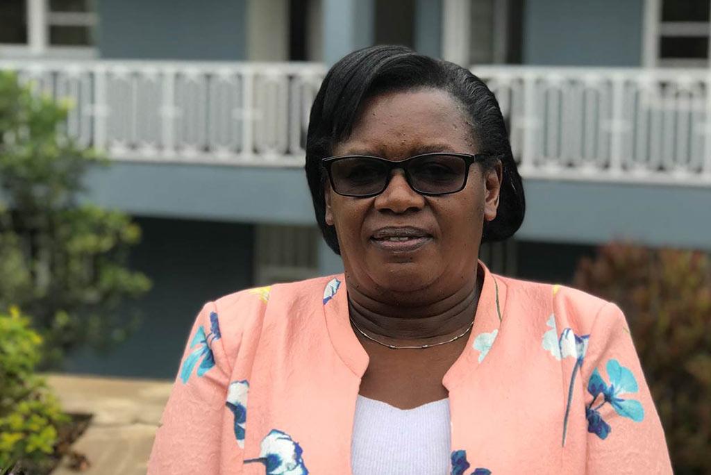 Xavérine Uwimana är nationell samordnare för Réseau des Femmes Oeuvrant pour le Développement Rural, en av Kvinna till Kvinnas partnerorganisationer i Rwanda. Foto: Kvinna till Kvinna/Aline Niwenshuti